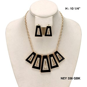 Statement Necklace Black with CZ