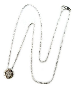 Sterling Silver Chain, Rhodium Bezel set Pave CZ  Center