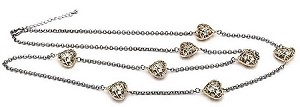 Rhodium Chain, Gold Puff Hearts with CZ 36