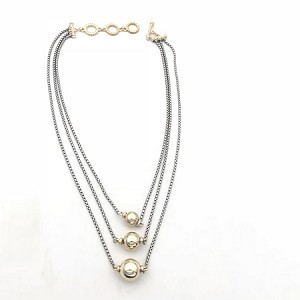 Three Row Silver Necklace with Gold Balls