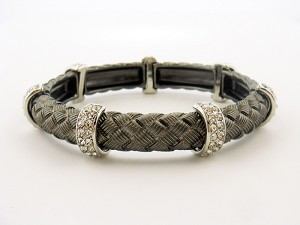 Textured Stretch Bracelet Hematite