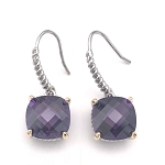 David Yurman Inspired, Rhodium, Square Amethyst Earring