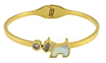 Stainless 14K Gold Plate Bangle with Mother of Pearl Dog & CZ