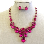 Crystal Necklace Pear Shape Hot Pink Stones