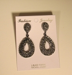 Pave Open Pear Drop Earring Black diamond