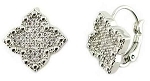 Micro Pave CZ Clover Rhodium Stud Earrings