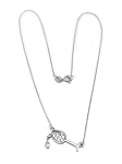 Sterling Silver Rhodium chain Tipsy Wine Glass filled with CZ's 16