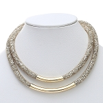 Inspired by Swarovski Gold Stardust Double Necklace w/Bar