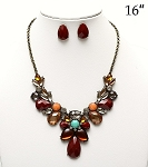 Stone Statement Necklace Burgandy